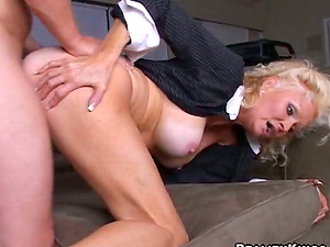 Blonde Cougar with bathing suit sunburn lines gets fucked switch roles cowgirl