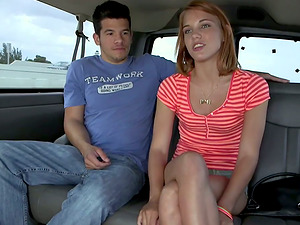 Red-haired Teenager in Jeans Cut-offs Picked Up by the Bang Bus