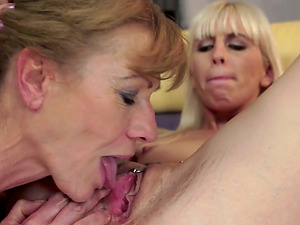 Blonde Lady Having Hot Lezzie Fucky-fucky with Mature Lady