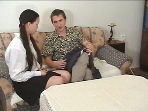 Spanking the Butt Cheeks of Brown-haired in Ponytails with a Spanking paddle