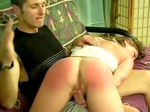 She Frigs Her Vagina After Getting Her Round Caboose Spanked