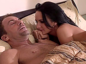 Horny dark haired fucks with her spouse early in the morning