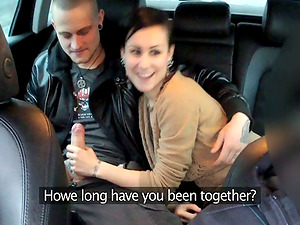 Cab driver fucks this petite black-haired together with her man