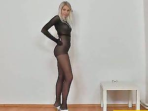 Lovely blonde honey in nylon bodysuit fucktoys her vagina
