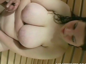 Fat fledgling dame fellates a dick and gets plowed in a sauna