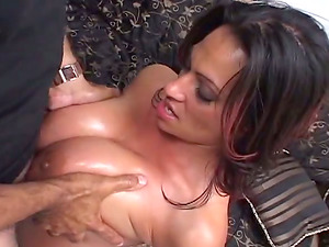 Smoking hot mummy with fat melons is loving a big one