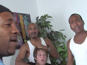 Check out this cougar engaged in an interracial gang-fuck that leaves her one messy bitch