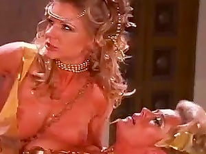 Roman legionaire fucks two patrician women and cums on their tits