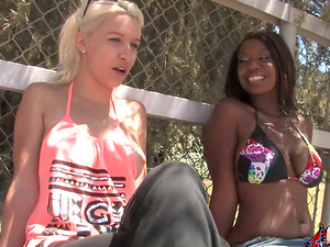 Sexy Black doll gets banged by Milky dudes in a mass ejaculation vid