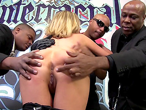 Chesty Milky Superstar in a Kinky Interracial Gang-fuck