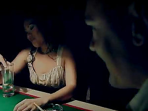 Lady May Racks Some Nut In A Threesome On Top A Pool Table