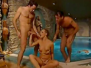 Jism on Liz Honey's Face after a Dual Invasion Threesome by the Pool