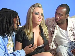 Horny Blonde Honey Gets Group-fucked by Three Black Studs