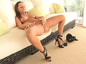 Crazy Solo Model in High High-heeled shoes Handballing Her Humid Twat