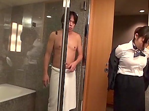 An Asian chick in an office garment has a wild lovemaking in a motel