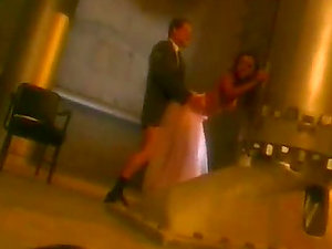 Hot fucking movie of bride and groom somewhere in the dark basement