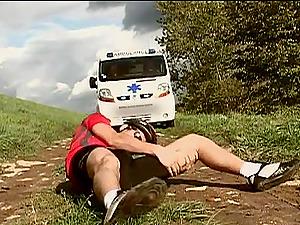 Hot fucky-fucky in the ambulance with the whorish nurse Sandra Mark