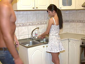 Nubile with a smoothly-shaven snatch liking a xxx missionary style fuck in her kitchen