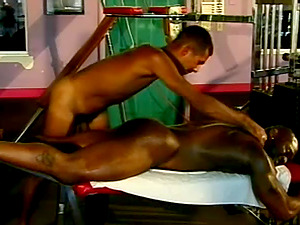 Two Hot Homo Black Guys Fuck in the Gym