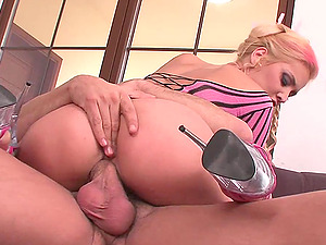 She touches her twat, while taking his dick in her mouth