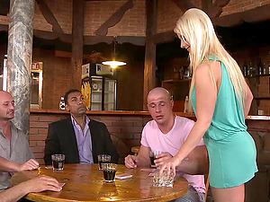 Interracial gang-bang hook-up clip with blonde waitress Mischel Channson