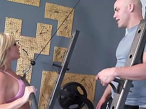 Steaming blondie is going to suck and fuck her gym coach