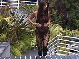 Gorgeous Bobbi Blair takes off bodystockings and masturbates