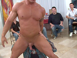 Homosexual Stud Hooks Up with a Masculine Stripper