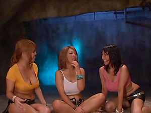 Three huge-chested Japanese moms flash their boob job abilities to a dude