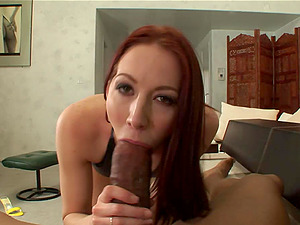 Cadence blows a black monster dick until her mouth's crammed by pearl juice