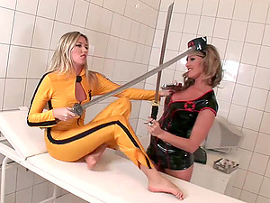 Lezzy Stunners Drilling Their Vaginas In A Hot Kill Bill Parody