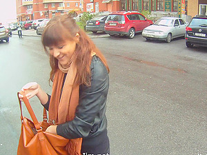 Sizzling Brown-haired With Petite Beautiful Tits Sucking Her Beau's Man rod In Public