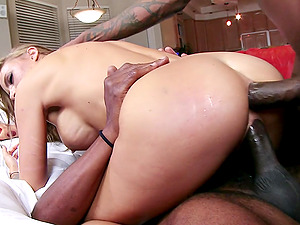 Pretty Blonde Cougar Providing A Deep throat As She Gets Ravaged In MMF Threesome
