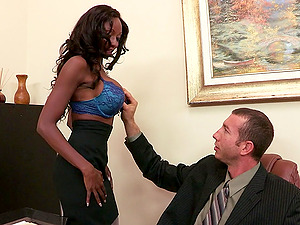 Diamond Jackson gets her black snatch drilled in an office