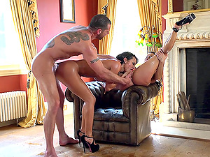 Two black-haired bombshells get beautifully fucked in FFM threesome