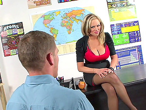 Incredible banging scene with big-breasted blonde instructor Katie Kox