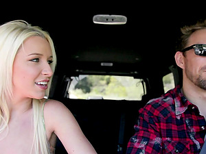 Stevie Shae blows and gets fucked rear end style in a car