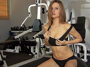After Working Out in the Gym She Works Her Smooth-shaven Cunt