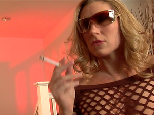 Cigar Fetish Cougar Providing A Horny Dude A Superb Handjob
