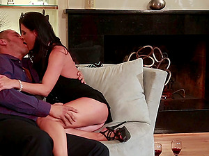 India Summer & Allie Haze caress each other & share a dick in FFM clip