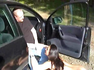 Kinky black-haired blows a dude outdoors before he pisses on her