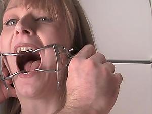 Bondage & discipline clip has blonde cutie drinking piss