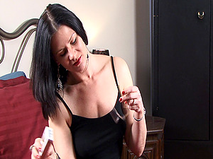 Dark haired shows off caboose and tits while smoking in solo porno