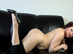 Mina Gorey pounds her trimmed twat with a fake penis in gonzo solo