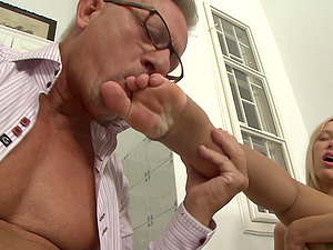 Ultra-cute Junior Blonde Gives an Older Man a Blowage and Footjob