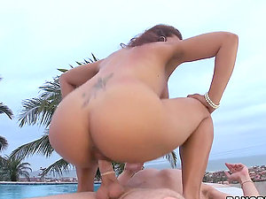 Big-chested Brazilian honey gets crazy outside, sucking his man rod