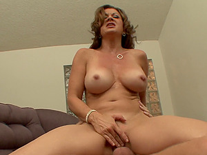 Chesty Cougar with Faux Tits Guzzles This Man's Hot Spunk