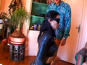 Big-titted black-haired gets group-fucked in titillating four-way