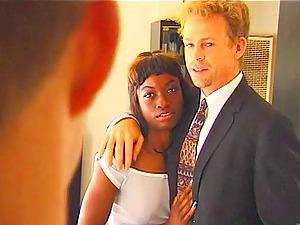 Dark-hued Gets The Plesure Of A Hard Dick In A Interracial Lovemaking