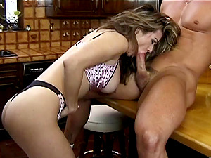 Maiden With Big Tits In Hooter-sling Providing Her Man A Nice Tit fucking